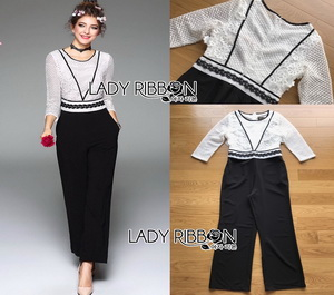 Lady Ribbon Black and White Lace Jumpsuit