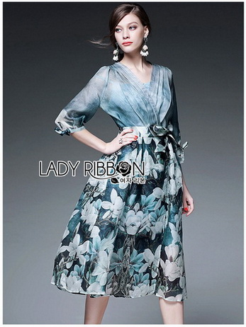 Lady Danielle Feminine Elegant Floral Printed Polyester Dress