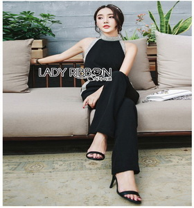 Lady Ribbon Smart Casual Pearl Black Jumpsuit ขายส่งจัมป์สูท
