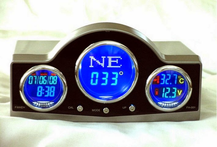 FH-001 CAR DIGITAL COMPASS WITH CLOCK / CALENDER / THERMOMETER / BATTERY VOLTAGE