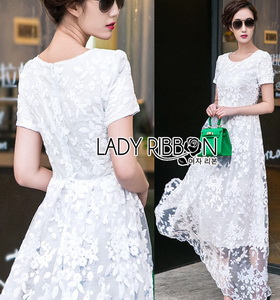 Lady Megan Sweet Feminine White Lace Maxi Dress