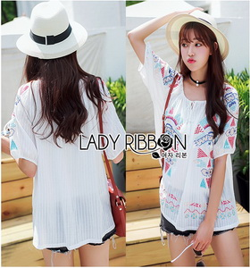 Lady Ribbon Lady Iris Local Embroidered Cotton with Tassel