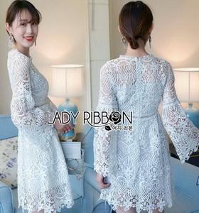 Guipure Lace Dress Lady Ribbon เดรสผ้าลูกไม้