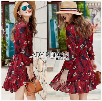 Lady Alora Spring Blossom Printed Ruffle Crepe Dress