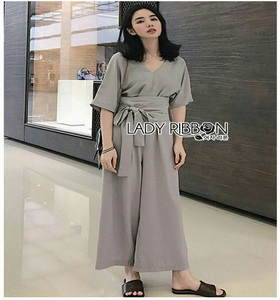 Lady Ribbon Chic Pale Grey Jumpsuit จัมป์สูท