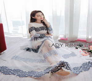 Lady RIbbon Mandy Sexy Elegant Striped Lace and Tulle Dress