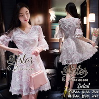 ST03310716 &#x1F340สินค้าพร้อมส่ง&#x1F340 한국에 의해 설계된 2sister made, White Sparkling Gorgeous Lovely Korea Dress