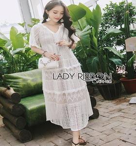 Lady Ribbon Chic Ivory Lace Maxi Dress