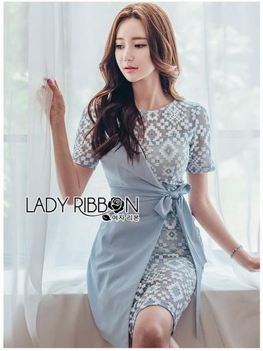 Two-Tone Lady Ribbon Blue Dress
