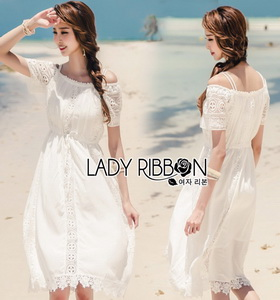 Lady Ribbon Cotton Lace Maxi Dress