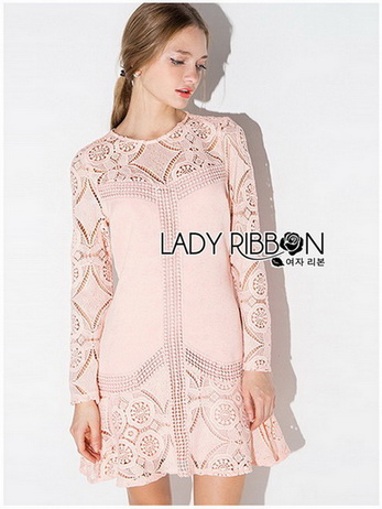 Lady Sophia Pink Nude Polyester and Lace Dress