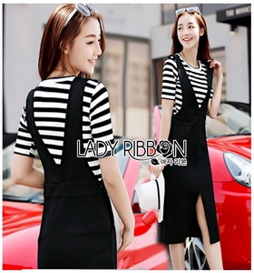 T-Shirt and Black Overall Dress Lady Ribbon
