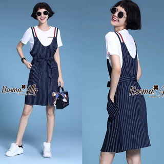 Lady Ribbon Online เสื้อผ้าออนไลน์ขายส่ง Normal Ally เสื้อผ้า NA01180816 &#x1F389Normal Ally Present Thom Browne style T-shirt and bib skirt&#x1F389