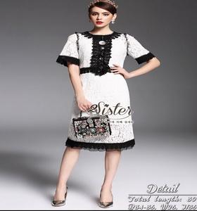 Korea Dress แฟชั่นเดรสลูกไม้ผ้าโทนสีขาว-ดำ งานเกาหลีสไตล์