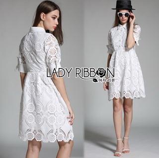 LR07290816 &#x1F380 Lady Ribbon's Made &#x1F380 Lady Abigail Casual Lace Cotton Shirt Dress เชิ้ตเดรส