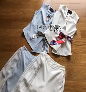Lady Ribbon Rachel Smart Casual White Pants ขายส่งเสื้อแขนกุด