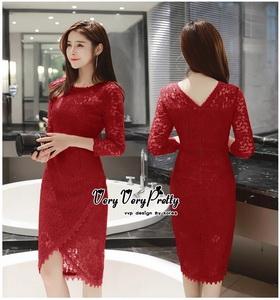 Slim Dress แฟชั่นเกาหลีเดรสผ้าลูกไม้