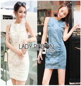 Lady Ribbon Denim Mini Dress มินิเดรส