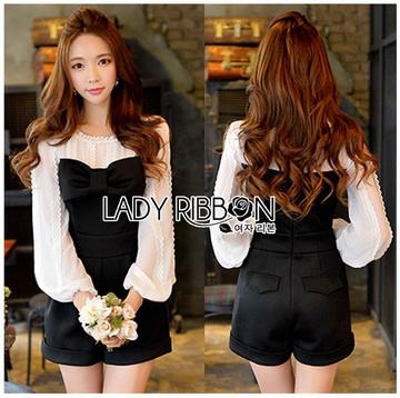 Lady Ribbon ขายส่งเสื้อผ้าออนไลน์พร้อมส่งของแท้ LR09220716 &#x1F380 Lady Ribbon's Made &#x1F380 Lady Hannah Sweet Monochrome Playsuit with Ribbon