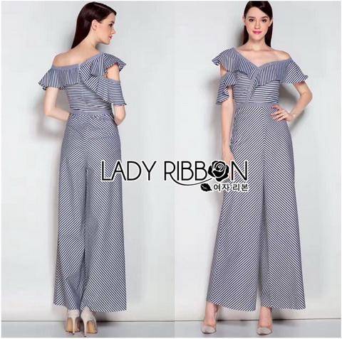 Lady Ribbon Striped Jumpsuit จัมป์สูทผ้าคอตตอน