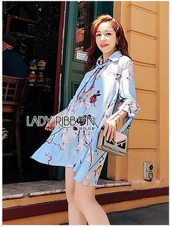 Lady Leslie Vivid Blue Printed Bow Dress