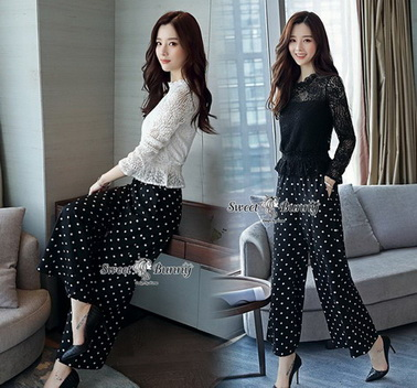 เสื้อ+กางเกงเกาหลี ผ้าลูกไม้