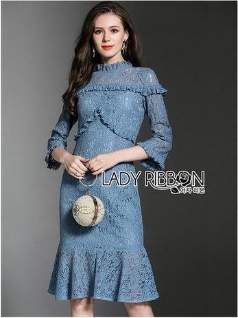 🎀 Lady Ribbon's Made 🎀 Lady Sarah Street Chic Denim Shirt Dress with Ribbon-Belt