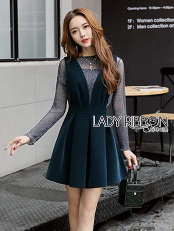 Dark Green Lady Ribbon Pleated Set Dress