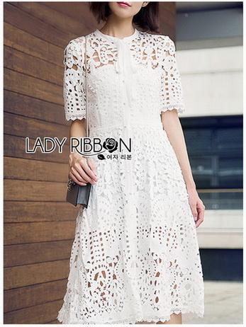 Lace Shirt Dress เชิ้ตเดรสผ้าลูกไม้สีขาว