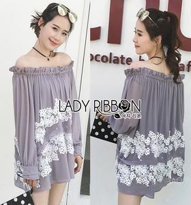 Lady Ribbon Lace Embroidered Chiffon Long Blouse