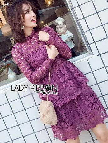 Lace Dress เดรสผ้าลูกไม้สีชมพูฟูเชีย