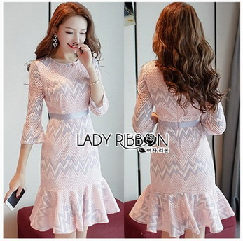 Lady Hanna Graphic Pastel Lace Ruffle Dress