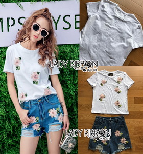 Lady Ribbon Ronnie Casual Denim Short Jeans Set