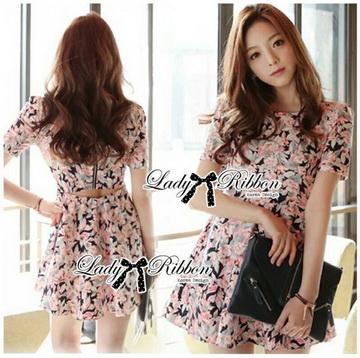 Lady Ribbon Online ขายส่งเสื้อผ้าออนไลน์ เลดี้ริบบอน LR20280716 &#x1F380Lady Ribbon's Made&#x1F380Lady Lana Flower Print A-Line Dress เดรสแขนสั้น