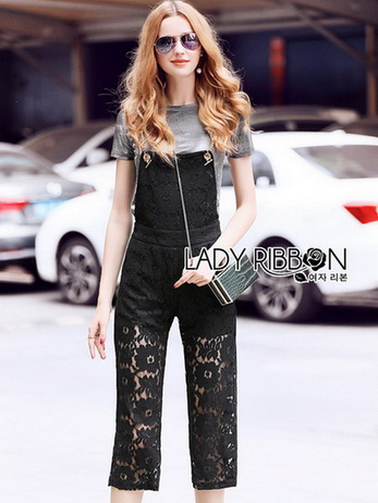 Lady Ribbon Overall Lace Jumpsuit พร้อมเอี๊ยม