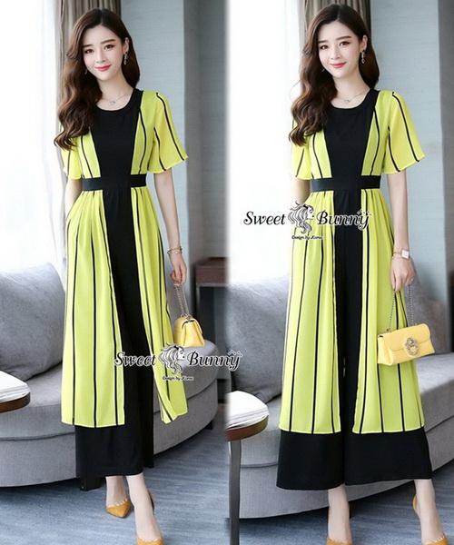 จั๊มสูทเกาหลีเสื้อคลุมนอกตัวยาว ผ้าสีเหลือง