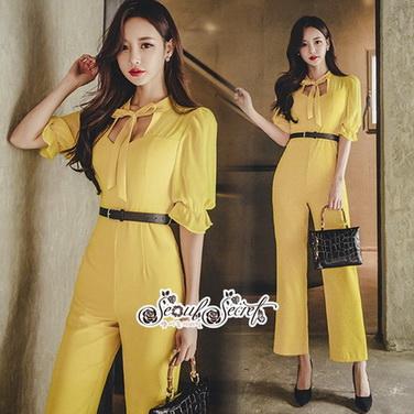 จั้มสูทโทนสีเหลืองสดใสทั้งชุด