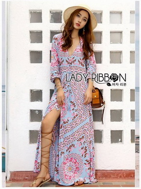 Modern Bohemian Floral Printed Lady Maxi Dress