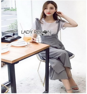 Lady Ribbon Checked Jumpsuit and White T-Shirt