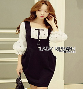 Lady Ribbon Aerin Babydoll Black & White Polkadot Dress