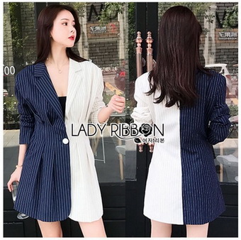 Two-Tone Striped Lady Ribbon Suit Dress