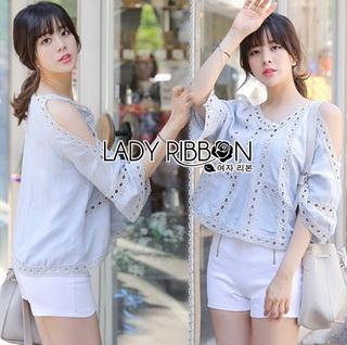 Lady Ribbon Online เสื้อผ้าออนไลน์ขายส่ง Lady ribbon เสื้อผ้า LR02150816 &#x1F380 Lady Ribbon's Made &#x1F380 Lady Karlie Cut-Out Off-Shoulder Embroidered Cotton Blouse เสื้อผ้าคอตตอน