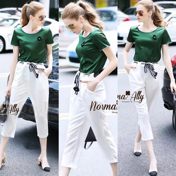 Lady Ribbon Online เสื้อผ้าออนไลน์ ขายส่ง normal ของแท้ NA15140716 &#x1F389Normal Ally Present new summer set casual pant and satin T-shirt
