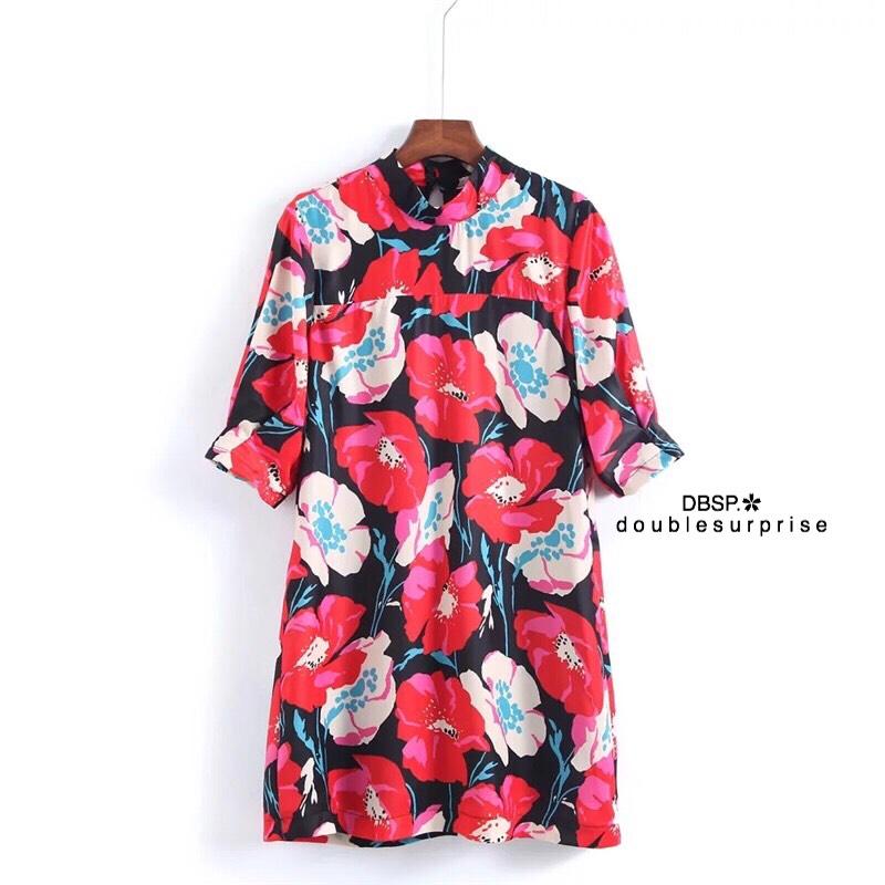 ชุดเดรสแฟชั่น เดรสเกาหลีเดรส Zara ผ้าพิมพ์ลายดอกสีสันสดใส ตัวนี้แนะนำเลยค่า