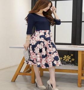 เสื้อผ้าแฟชั่นเกาหลีพร้อมส่งชุดเดรสสีกรมผ้ายืดเนื้อดี