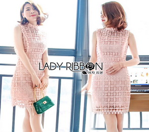 Lady Ribbon Old-Rose Guipure Lace Mini Dress