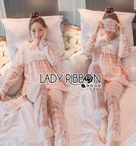 Lady Emma Pretty Pastel Check Ruffle Pajamas Ribbon