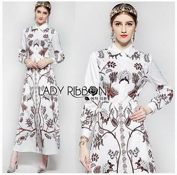 🎀 Lady Ribbon's Made 🎀 Lady Babara Wild Printed White Shirt Dress