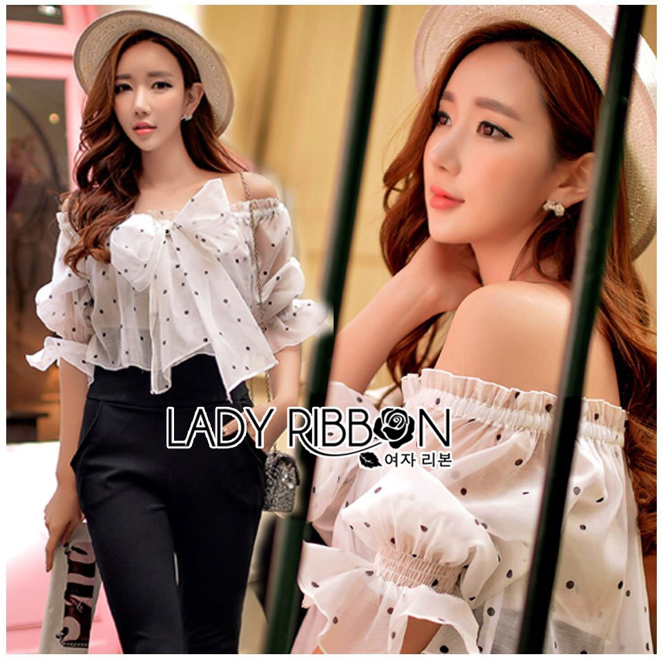 Lady Ribbon Online LR19060616 &#x1F380 Lady Ribbon's Made &#x1F380 Lady Andrea Off-Shoulder with Ribbon Cotton Silk Jumpsuit สำเนา