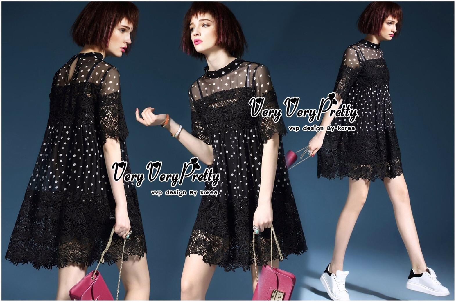Lady Ribbon Online เสื้อผ้าออนไลน์ ขายส่ง VP05110716 Polka Dots Chiffon mix Lace MiNi Dress
